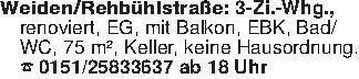 Weiden/Rehbühlstraße: 3-Zi.-Wh...