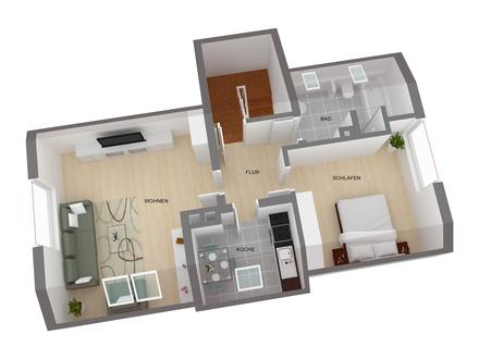 Gemütliche 2 Zimmer-Wohnung mit viel Platz