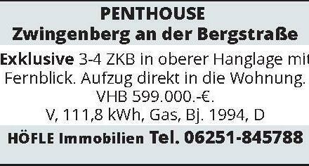 PENTHOUSE - Zwingenberg an der Bergstraße