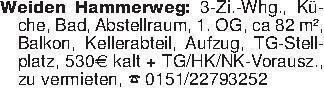 Weiden Hammerweg: 3-Zi.-Whg.,...