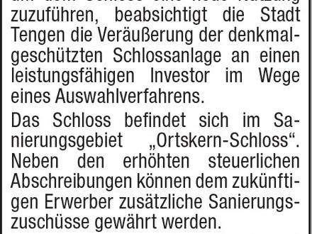 """Verkauf einer historischen Schlossanlage """"Schloss Blumenfeld"""" Stadt Tengen"""
