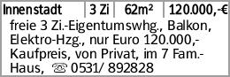 Innenstadt 3 Zi 62m² 120.000,-€ freie 3 Zi.-Eigentumswhg., Balkon, Elektro-Hzg.,...
