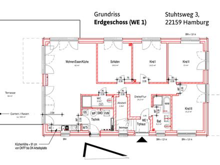 143 qm / wohngesunde 5-Zi-Whg im EG in attraktiver Lage von HH-Farmsen (Erstbezug)