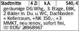 Stadtmitte 4 Zi k.A. 540,-€ geräumige DG Whg., 3. Etage, EBK, 2 Bäder m....