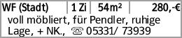WF (Stadt) 1 Zi 54m² 280,-€ voll möbliert, für Pendler, ruhige Lage, +...