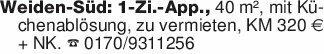 Weiden-Süd: 1-Zi.-App., 40 m²,...