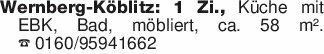 Wernberg-Köblitz: 1 Zi., Küche...