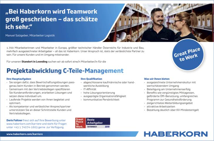1.700 Mitarbeiterinnen und Mitarbeiter in Europa, größter technischer Händler Österreichs für Industrie und Bau, mehrfach ausgezeichneter Arbeitgeber – all das ist Haberkorn. Unser Anspruch ist, stets