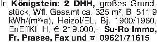 In Königstein: 2 DHH, großes G...