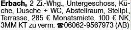 2-Zimmer Mietwohnung in Erbach (65346)