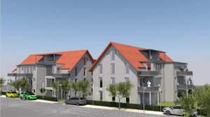 2-Zimmer-Neubauwohnung im Obergeschoss mit Balkon