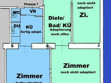 1/3 sanierte & 2/3 noch herzurichtende 3-Raum-Wohnung - in U-Bahn-Nähe bei Meislmarkt - auch als 2 Wohnungen nutzbar -…