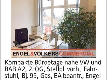 Kompakte Büroetage nahe VW und BAB A2, 2. OG, Stellpl. vorh., Fahrstuhl,...