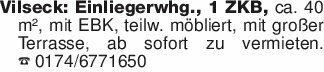 Vilseck: Einliegerwhg., 1 ZKB,...