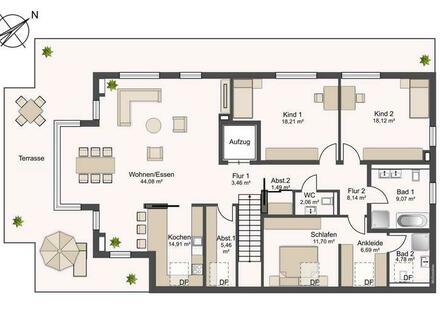 75 m² Dachterrasse! Modernes Penthouse in schöner Lage von Oerlinghausen!