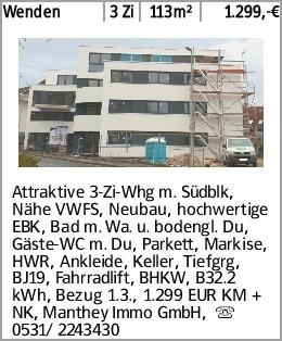 Wenden 3 Zi 113m² 1.299,-€ Attraktive 3-Zi-Whg m. Südblk, Nähe VWFS, Neubau,...