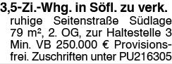 3,5-Zi.-Whg. in Söfl. zu verk.