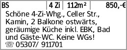 BS 4 Zi 112m² 850,-€ Schöne 4-Zi-Whg., Celler Str., Kamin, 2 Balkone ostwärts,...
