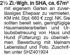 2,5 Zi. Whg. in SHA