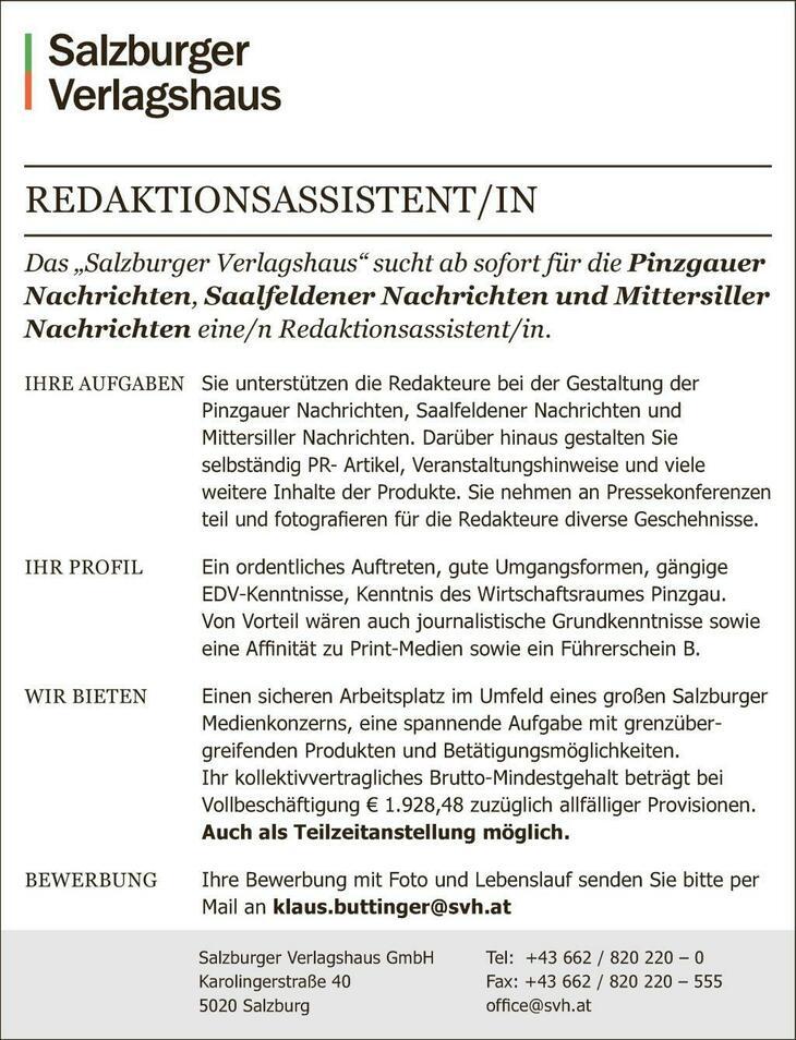 """Das """"Salzburger Verlagshaus"""" sucht ab sofort für die Pinzgauer Nachrichten, Saalfeldener Nachrichten und Mittersiller Nachrichten eine/n Redaktionsassistent/in."""