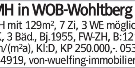 RMH in WOB-Wohltberg RMH mit 129m², 7 Zi, 3 WE möglich, EBK, 3 Bäd., Bj.1955,...