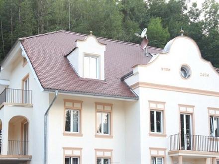 Stadtvilla an der Wolfratshauser Floßlände: Neue 5-Zi.-DG-Whg. mit Gartenanteil
