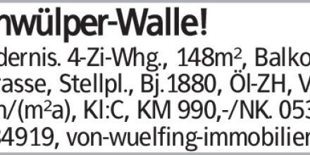Schwülper-Walle! Modernis. 4-Zi-Whg., 148m², Balkon u. Terrasse, Stellpl.,...