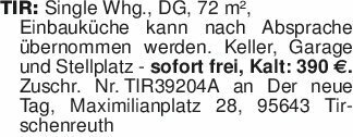 TIR: Single Whg., DG, 72 m²,E...