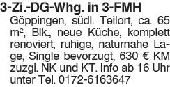 3 Zi. DG Whg., in 3 FMH