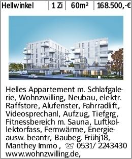 Hellwinkel 1 Zi 60m² 168.500,-€ Helles Appartement m. Schlafgalerie, Wohnzwilling,...