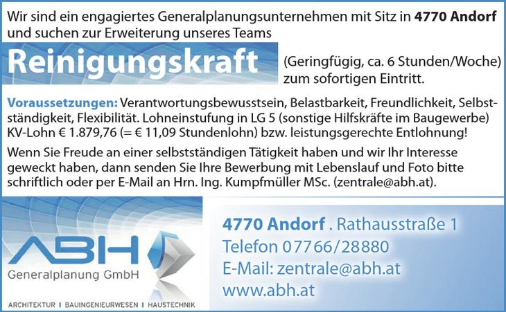 Wir sind ein engagiertes Generalplanungsunternehmen mit Sitz in 4770 Andorf und suchen zur Erweiterung unseres Teams Reinigungskraft