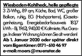 3-Zimmer Mietwohnung in Wiesbaden (65199)