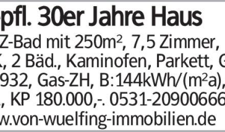 Gepfl. 30er Jahre Haus in SZ-Bad mit 250m², 7,5 Zimmer, EBK, 2 Bäd., Kaminofen,...