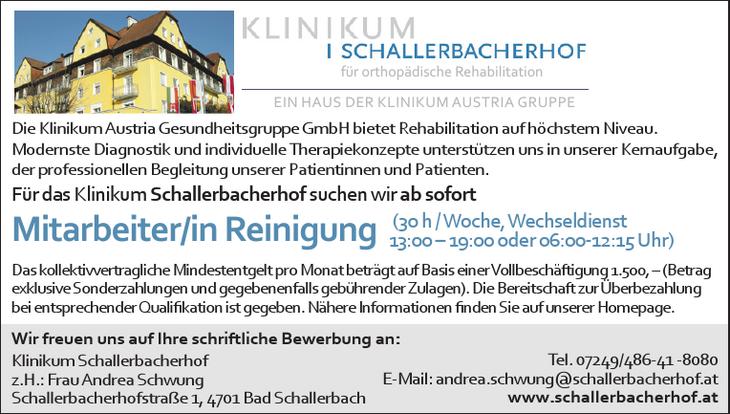 Für das Klinikum Schallerbacherhof suchen wir ab sofort Mitarbeiter/in Reinigung