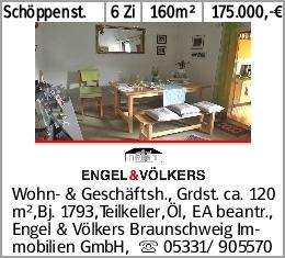 Schöppenst. 6 Zi 160m² 175.000,-€ Wohn- & Geschäftsh., Grdst. ca. 120 m²,Bj....