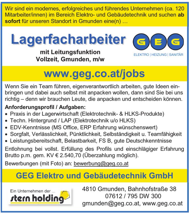 Wir sind ein modernes, erfolgreiches und führendes Unternehmen (ca. 120 Mitarbeiter/innen) im Bereich Elektro- und Gebäudetechnik und suchen ab sofort für unseren Standort in Gmunden eine(n) …