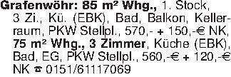 Grafenwöhr: 85 m² Whg., 1. Sto...