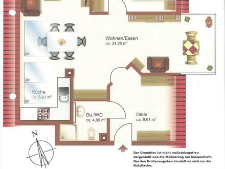 Helle 2-Zimmer DG-Whg., 3.OG (kein Lift), mit Einbauküche