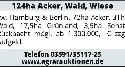 124ha Acker, Wald, Wiese zw. Hamburg & Berlin