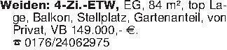 Weiden: 4-Zi.-ETW, EG, 84 m²,...