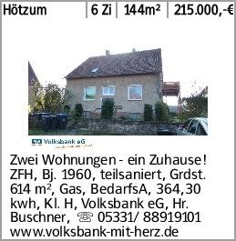 Hötzum 6 Zi 144m² 215.000,-€ Zwei Wohnungen - ein Zuhause! ZFH, Bj. 1960,...