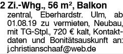 2 Zi Wohnung, 56 m², Balkon, zentral Eberhardstraße Ulm