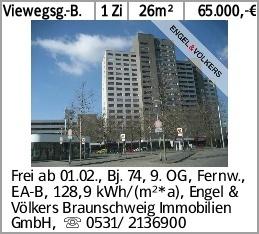 Viewegsg.-B. 1 Zi 26m² 65.000,-€ Frei ab 01.02., Bj. 74, 9. OG, Fernw.,...