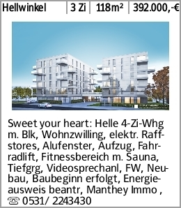 Hellwinkel 3 Zi 118m² 392.000,-€ Sweet your heart: Helle 4-Zi-Whg m. Blk,...