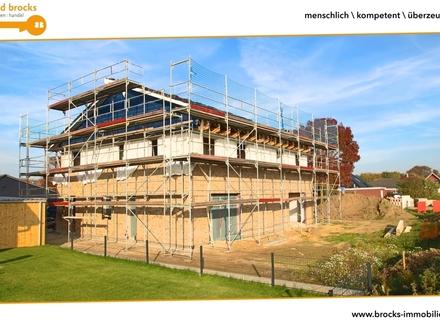 Schöne DHH auf sonnigem Grundstück! Neubau, Erstbezug! Ruhige Lage! Pultdach, Terrasse, Stellplatz!