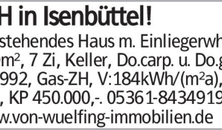 EFH in Isenbüttel! Freistehendes Haus m. Einliegerwhg., 110m², 7 Zi, Keller,...