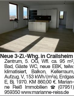 Neue 3 Zi. Whg. in Crailsheim Zentrum