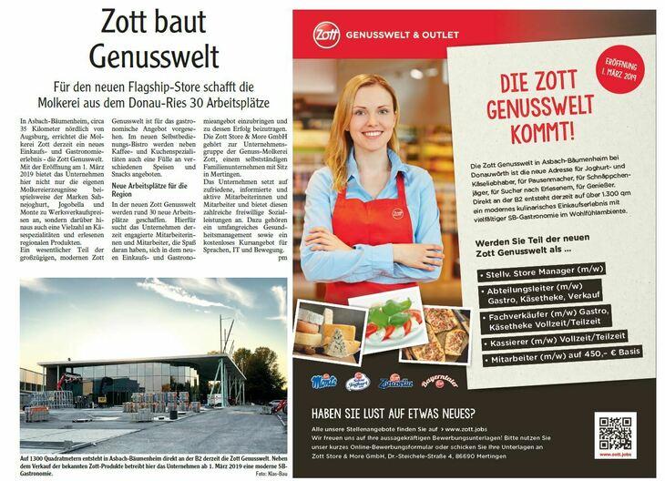 Die Zott Genusswelt in Asbach-Bäumenheim bei Donauwörth ist die neue Adresse für Joghurt- und Käseliebhaber, für Pausenmacher, für Schnäppchenjäger, für Sucher nach Erlesenem, für Genießer. Direkt an
