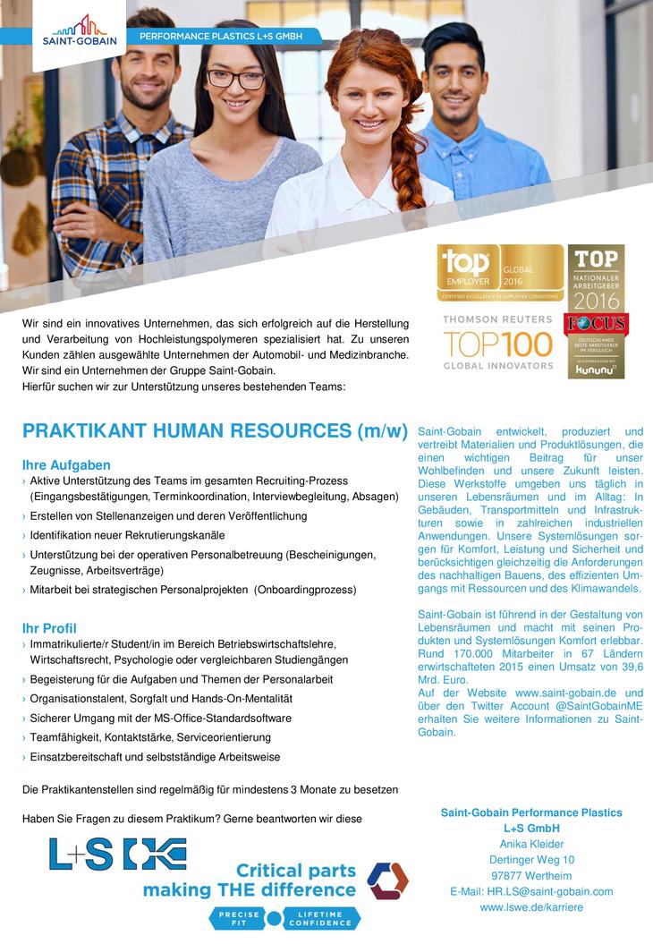Wir sind ein innovatives Unternehmen, das sich erfolgreich auf die Herstellung und Verarbeitung von Hochleistungspolymeren spezialisiert hat.  PRAKTIKANT HUMAN RESOURCES (m/w)
