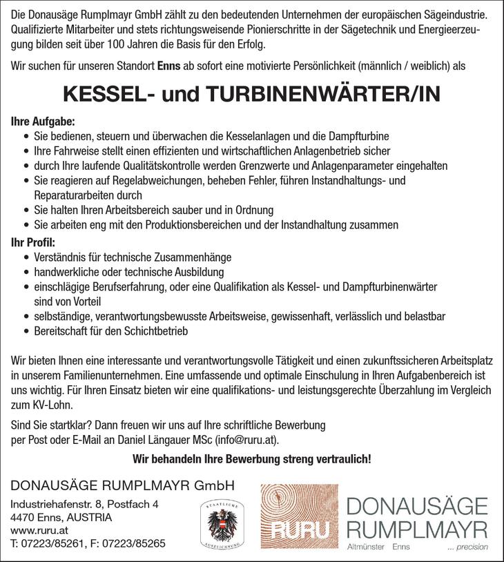 Die Donausäge Rumplmayr GmbH zählt zu den bedeutenden Unternehmen der europäischen Sägeindustrie. Qualifizierte Mitarbeiter und stets richtungsweisende Pionierschritte in der Sägetechnik und Energieer
